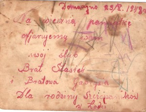 Dedykacja nazdjęciu ślubnym Państwa Kujawskich. Domacyno 1948r.