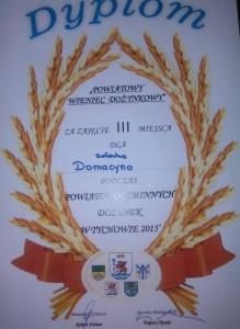 Dyplom - Dożynki Powiatowe wTychowie III nagroda zawieniec 2015r.