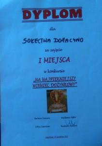 Dyplom - Dożynki Gminne wZwartowie Inagroda zawieniec 2015r.